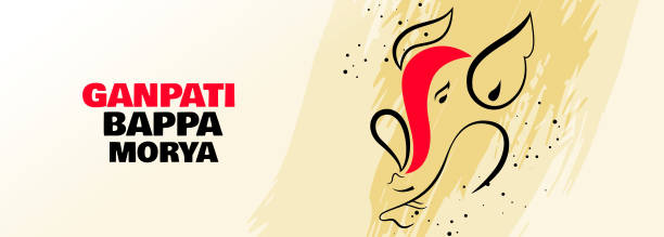 lord ganesha kreatives design banner für ganesh chaturthi festival - ganesh stock-grafiken, -clipart, -cartoons und -symbole