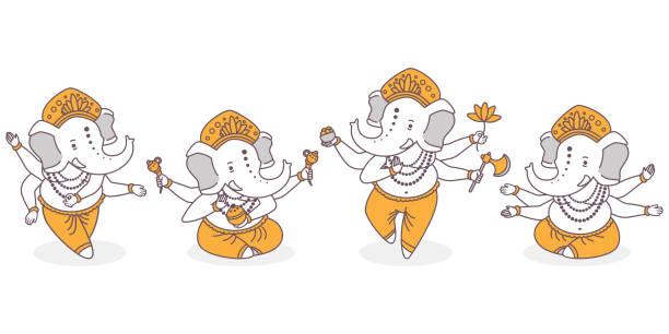 lord ganesha vektorcartoon niedliche charaktere gesetzt. hindu-gott mit elefantenhand im tanz und lotus posieren isoliert auf weißem hintergrund. - ganesh stock-grafiken, -clipart, -cartoons und -symbole