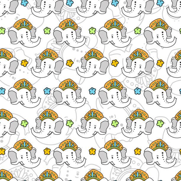 lord ganesha vektorcartoon nahtloses muster auf weißem hintergrund. - ganesh stock-grafiken, -clipart, -cartoons und -symbole