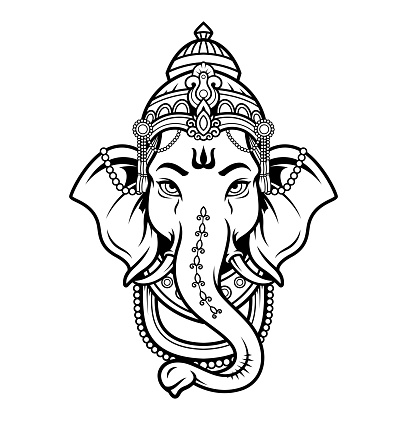 Lord Ganeshhead black and white icon in the linear style