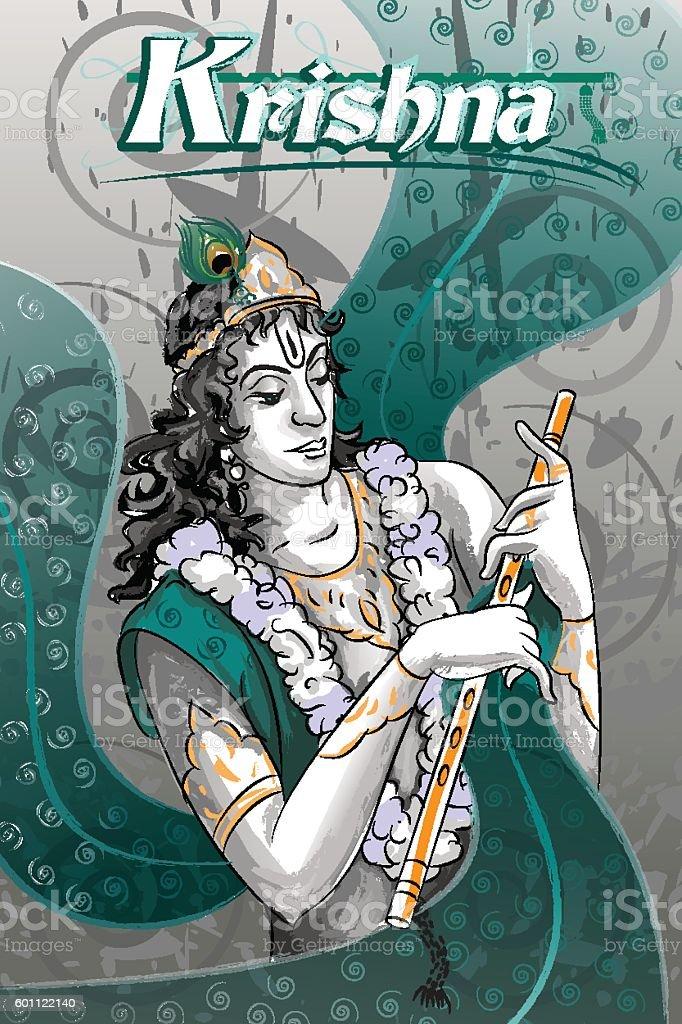 Lord Krishna Indian God Janmashtami festival holiday vector art illustration