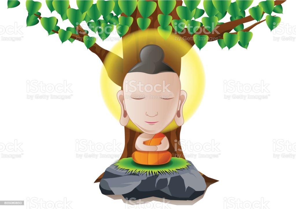 Señor de Buda iluminarnos árbol en versión de dibujos animados - ilustración de arte vectorial