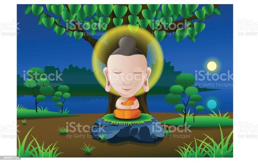 Señor de Buda iluminarnos debajo de árbol en la noche de luna llena cerca de río en la India en versión de dibujos animados - ilustración de arte vectorial
