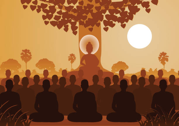 lord of buddha mediating with crowd of monk,silhouette style - buddha stock illustrations, clip art, cartoons, & icons