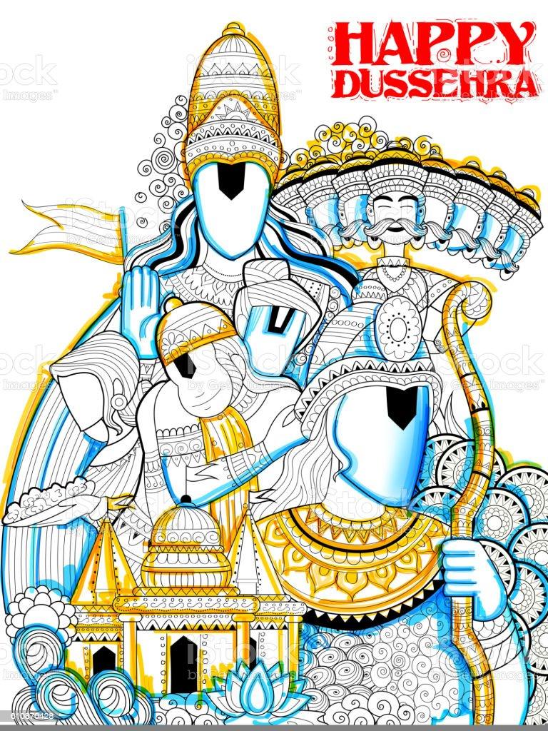 Lord Ram, Sita, Laxmana, Hanuman and Ravana in Dussehra Navratri vector art illustration