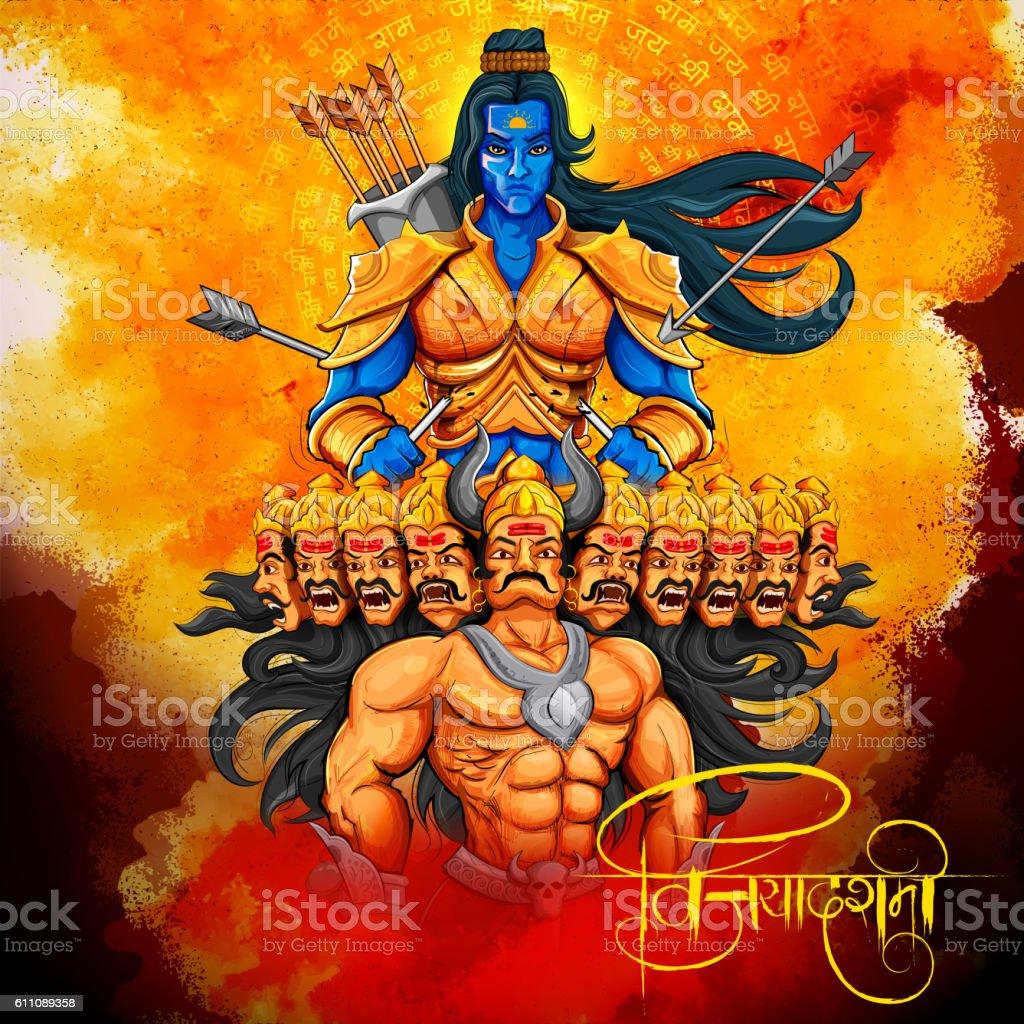 Lord Rama and Ravana in Dussehra Navratri festival of India vector art illustration