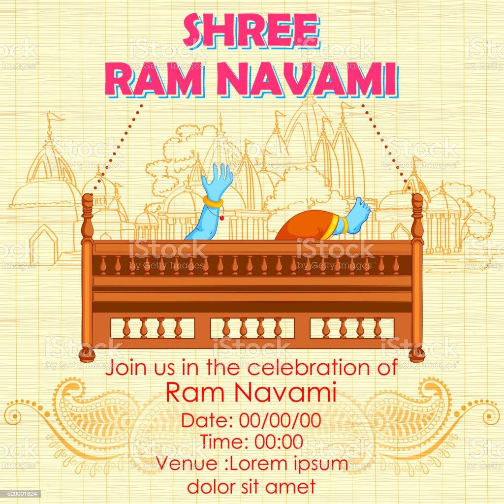 Lord Rama in Ram Navami background vector art illustration