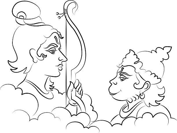 Lord Rama the Hindu God with Hanuman  hanuman stock illustrations