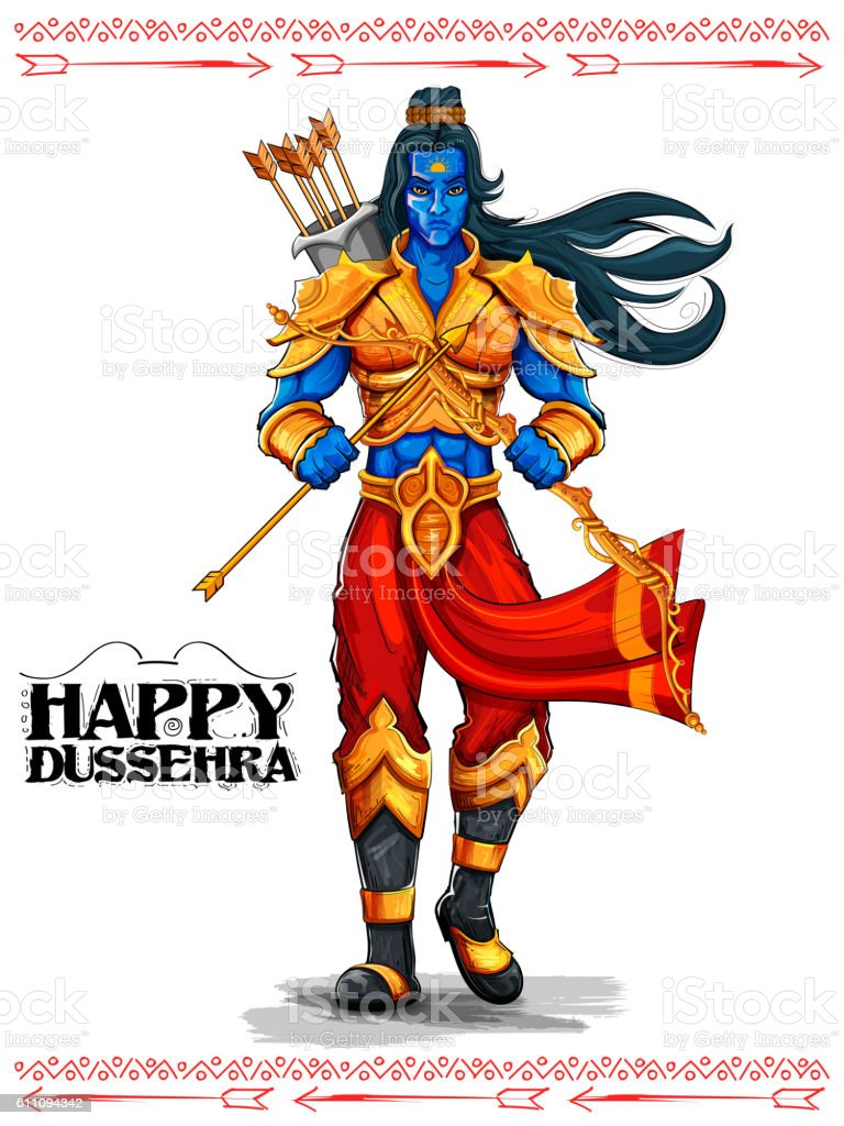 Lord Rama with arrow in Dussehra Navratri festival of India vector art illustration