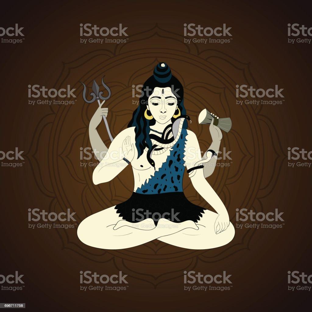 Lord Shiva in the lotus position and meditate. Maha Shivaratri illustration, vector indian god Ganesha, background for yoga vector art illustration