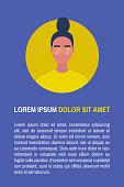 Lorem ipsum. Your text here. Template. Young female adult portrait. Flat editable vector illustration, clip art