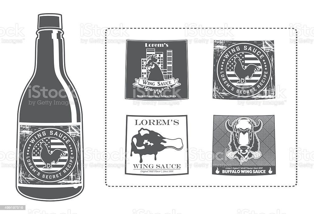 Lorem's Wing Sauce Bottle with Labels vector art illustration