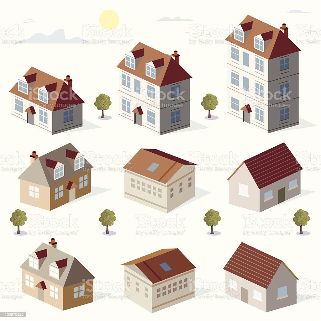 LoRise Houses. royalty-free stock vector art