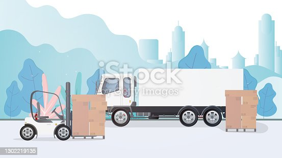 istock A lorry and a pallet with cardboard boxes stands on the road. Forklift raises the pallet. Industrial forklift. Carton boxes. The concept of delivery and loading of cargo. Isolated. Vector design 1302219135