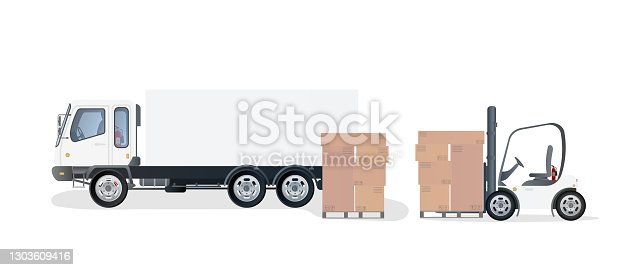 istock Lorry and pallet with cardboard boxes. Forklift raises the pallet. Industrial forklift. Carton boxes. The concept of delivery and loading of cargo. Isolated. Vector design 1303609416