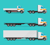 Lorry or cargo truck and delivery automobiles or vehicle vector set, flat cartoon freight industry transport, large courier cars and big wagon vans for shipping isolated