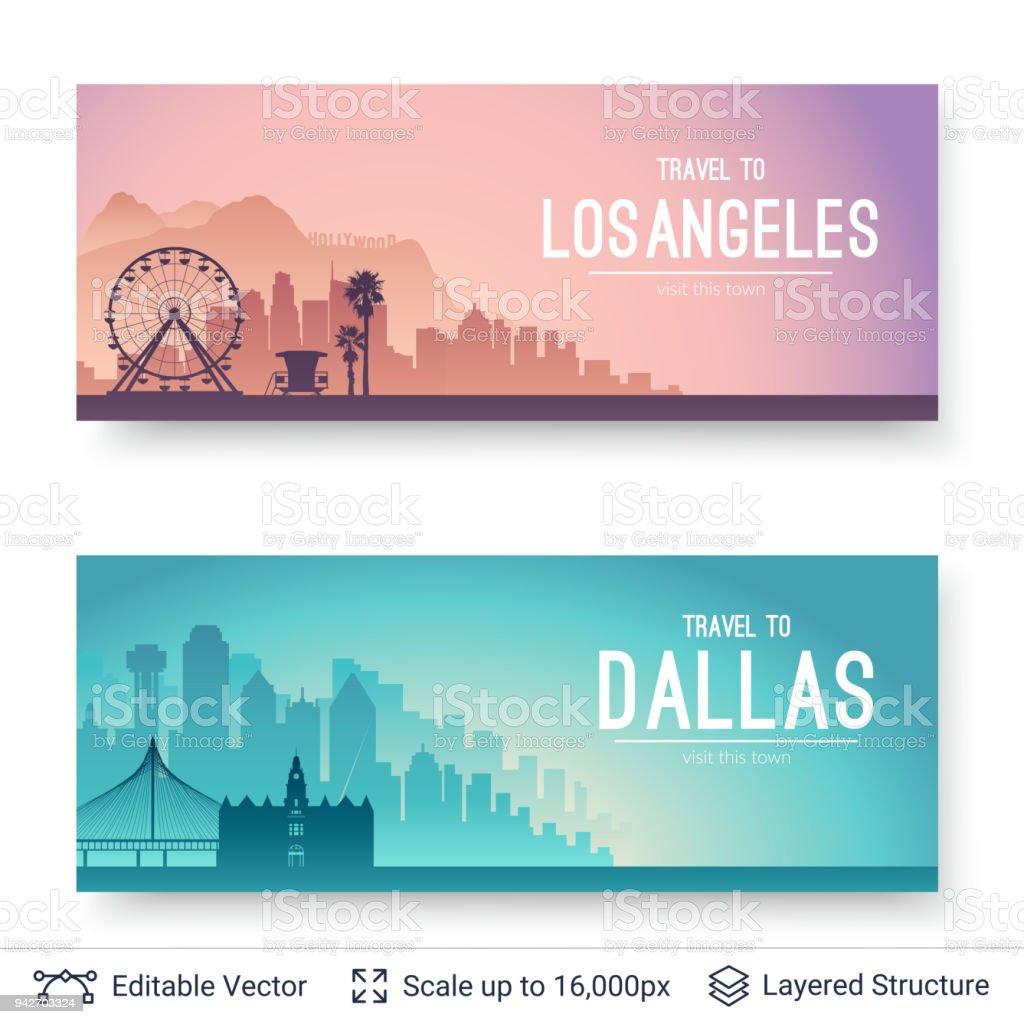 Paisajes famosos de la ciudad de los Angeles y Dallas. - ilustración de arte vectorial