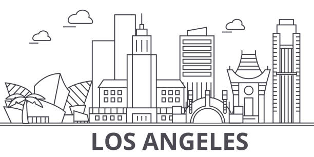 los angeles architecture line skyline illustration. linear vector cityscape with famous landmarks, city sights, design icons. landscape wtih editable strokes - los angeles stock illustrations