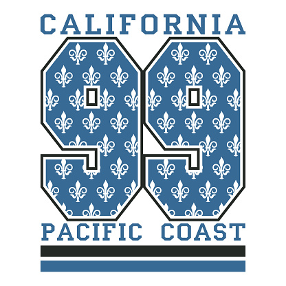 Los Angeles CA, pacific coast, fashion Typography, sport emblem design, Number with floral ornament, graphic Print label