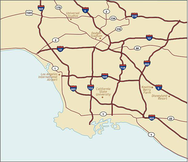 лос-анджелес калифорния map - los angeles stock illustrations