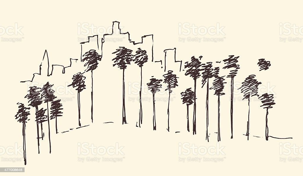 Los Angeles, California, Skyline Engraved Sketch vector art illustration