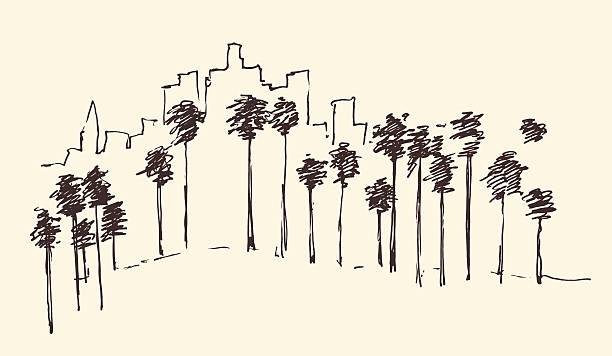 лос-анджелес, калифорния skyline с гравировкой, эскиз - los angeles stock illustrations