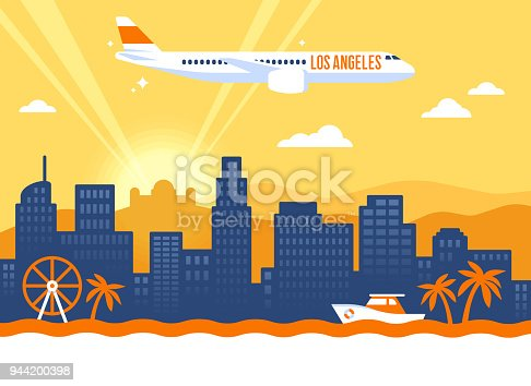 Los Angeles California USA skyline concept illustration.