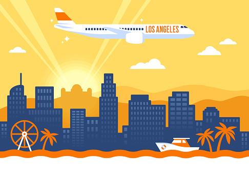 Los Angeles California USA skyline concept illustration.