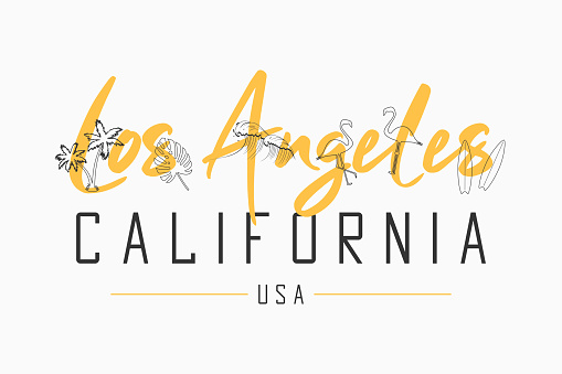 Los Angeles, California t shirt design with slogan and hand drawn illustration of tropical elements.