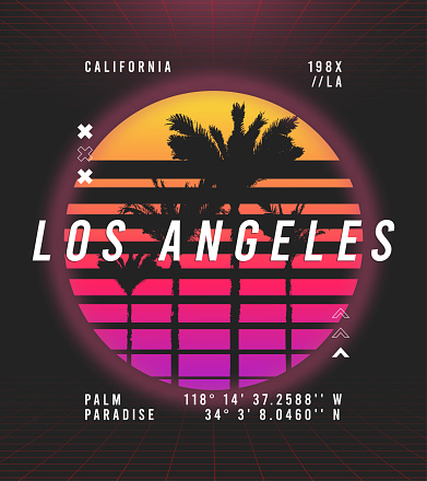 Los Angeles, California t-shirt design in retro futuristic style. Typography graphics for retrowave style tee shirt with sunset and palm trees. Vector