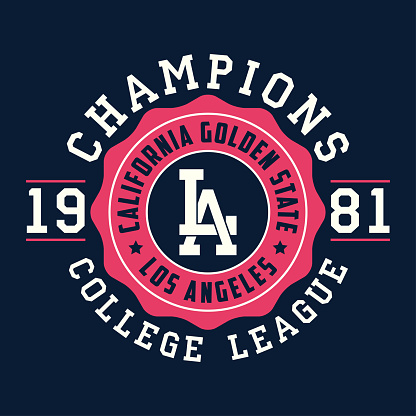 Los Angeles, California typography for design clothes. Graphics for print product, t-shirt, vintage sport apparel. Champions of college league. Vector