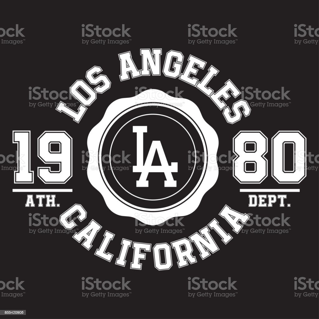 63929f91f Los Angeles, California typography for t-shirt print. Sports, athletic t- shirt graphics - Illustration .