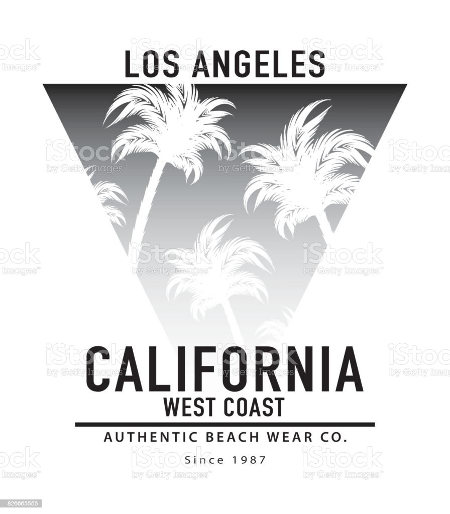 Arte Design In Los Angeles Images: Los Angeles California Typography With Palm Trees Summer