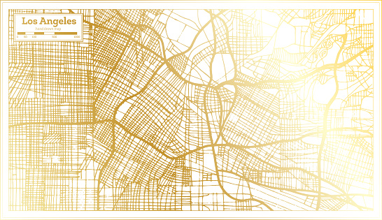 Los Angeles California USA City Map in Retro Style in Golden Color. Outline Map.