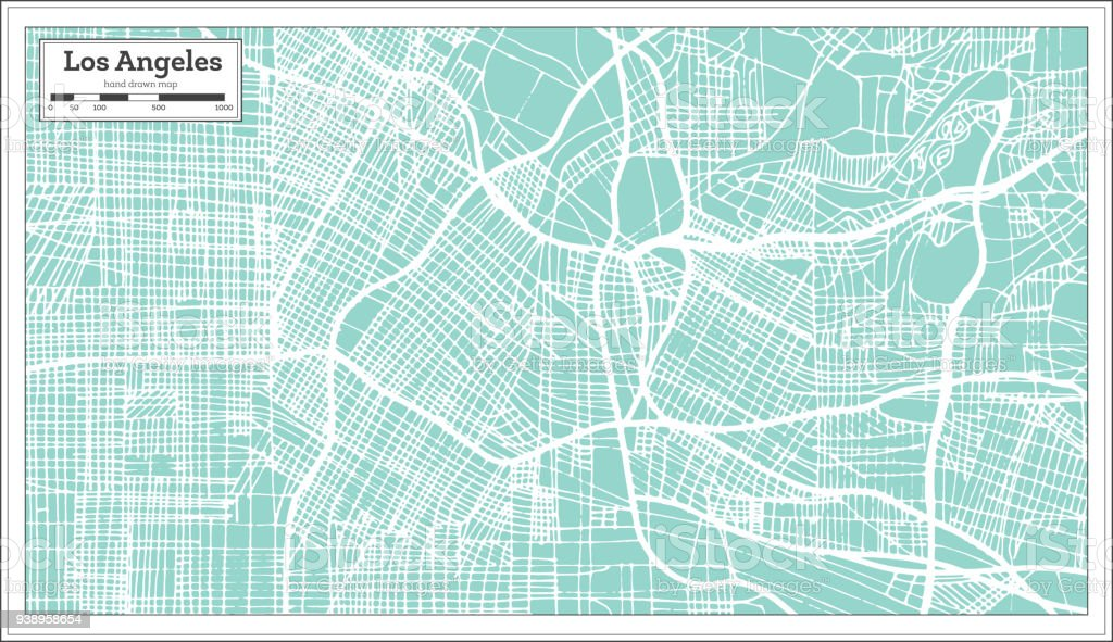 Los Angeles California Usa City Map In Retro Style Outline Map Stock ...