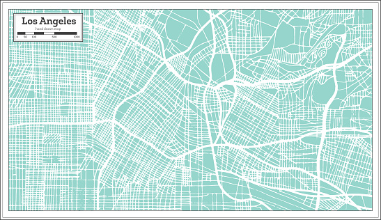 Los Angeles California USA City Map in Retro Style. Outline Map.