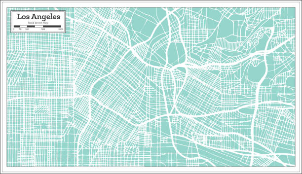 los angeles california usa city map in retro style. outline map. - los angeles stock illustrations
