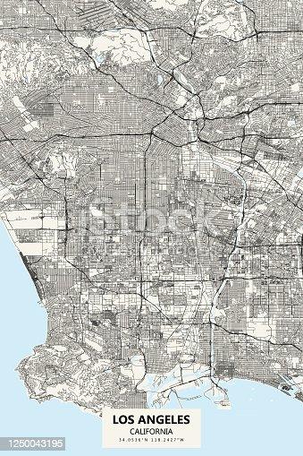 istock Los Angeles California Vector Map 1250043195