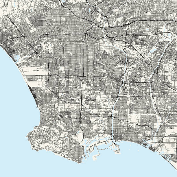 los angeles, california vector map - los angeles stock illustrations