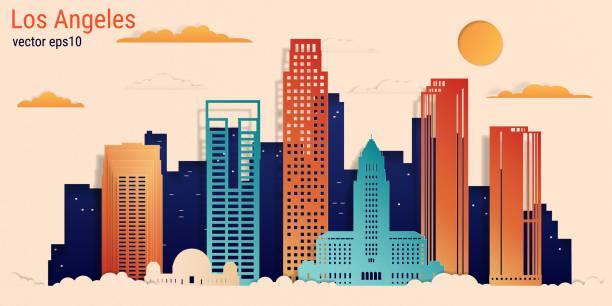 лос-анджелес город красочный стиль бумаги вырезать, вектор фондовой иллюстрации. городской пейзаж со всеми известными зданиями. skyline лос-ан - los angeles stock illustrations
