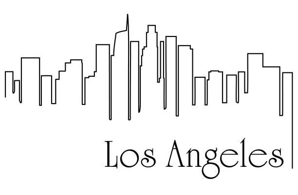 лос-анджелес город рисунок линии абстрактный фон с городским пейзажем - los angeles stock illustrations