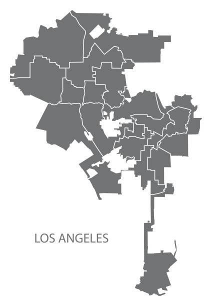los angeles city map with boroughs grey illustration silhouette shape - los angeles stock illustrations
