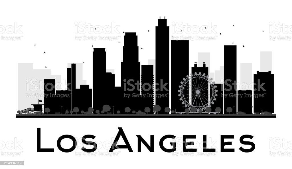 los angeles stadt skyline kontur in schwarz und weiß stock vektor art und  mehr bilder von amerikanische kontinente und regionen - istock  istock