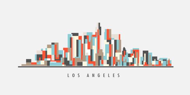 los angeles city skyline geometry style - los angeles stock illustrations