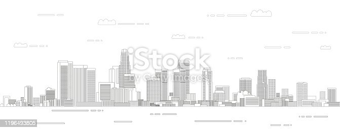 istock Los Angeles cityscape line art style vector illustration. Detailed skyline poster 1196493805