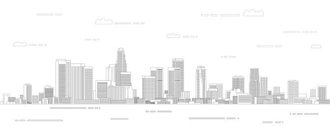 Los Angeles cityscape line art style vector illustration. Detailed skyline poster