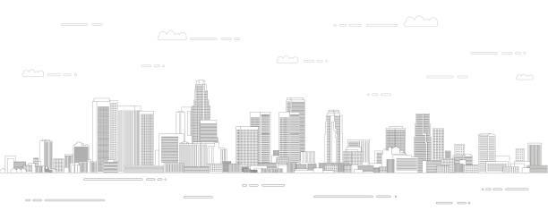 лос-анджелес cityscape линии искусства стиль вектор иллюстрации. подробный плакат горизонта - los angeles stock illustrations