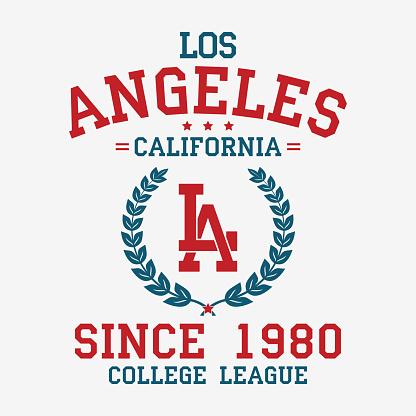 Los Angeles college typography for t-shirt. California slogan tee shirt, sport apparel print. LA vintage graphics. Vector