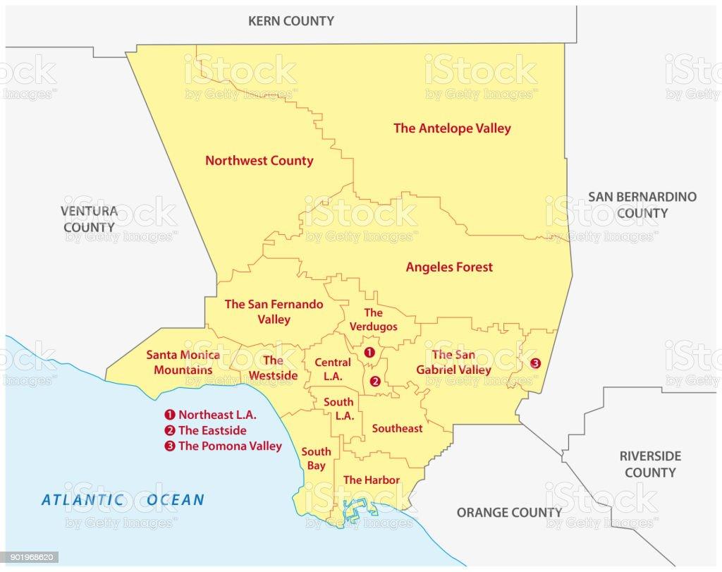 mapa de regiones del Condado de los Ángeles - ilustración de arte vectorial