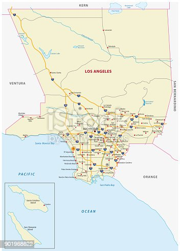 istock los angeles county road map 901968622